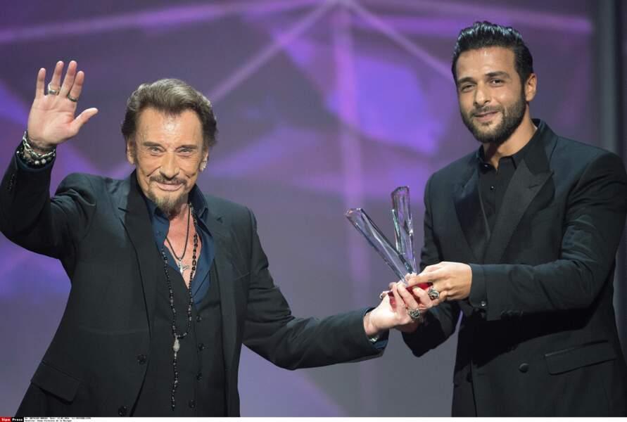 Maxim Nucci et Johnny aux Victoires de la Musique en 2016