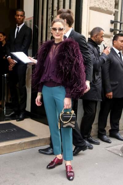 Olivia Palermo dans un look très coloré chez Elie Saab
