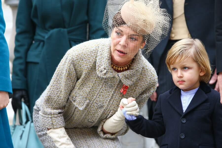 Caroline de Hanovre et son petit-fils Sacha Casiraghi lors de la fête nationale monégasque le 19 novembre 2016