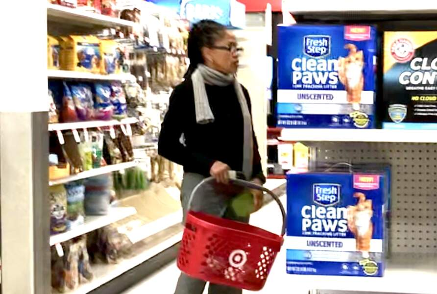 Doria Ragland, surprise dans les allées de Target, magasin discount, à Los Angeles, le 12 janvier 2019