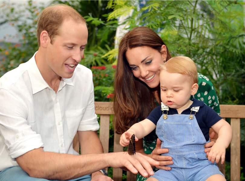 William, Kate et George au Musée d'Histoire Naturelle de Londres, le 2 juillet 2014