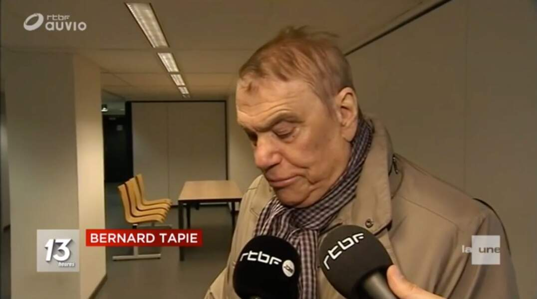 L'homme d'affaires Bernard Tapie : 1e apparition publique depuis l'annonce de son cancer
