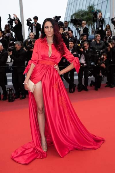 """Delphine Wespiser a assisté à la projection du film """"Les plus belles années d'une vie"""" à Cannes, le 18 mai 2019"""