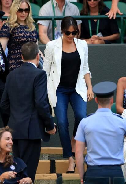 La ravissante Meghan Markle arrive à Wimbledon, le 4 juillet 2019.