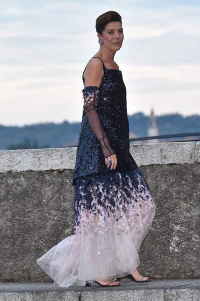 Caroline de Monaco au mariage de son fils Pierre Casiraghi avec Beatrice Borromeo, en 2015 en Italie