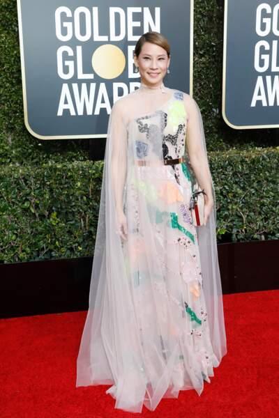 Lucy Liu en robe Galia Lahav, lors de la cérémonie des Golden Globes, le 6 janvier 2019 à Los Angeles