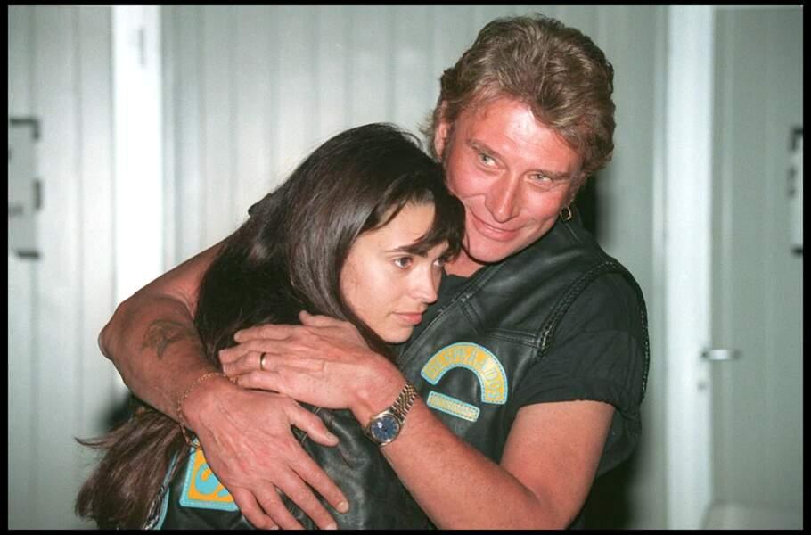 "Adeline et Johnny, enlacés, lors du ""Desperados Biker Trophy"" à Carpentras en 1994"