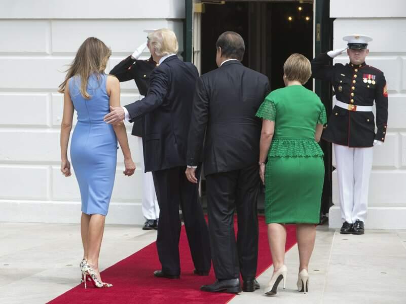 Le président des Etats-Unis Donald Trump et sa femme Melania reçoivent le président du Panama