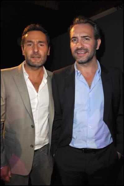 Gilles Lellouche et Jean Dujardin lors de la remise des prix Romy Schneider et Patrick Dewaere en 2011