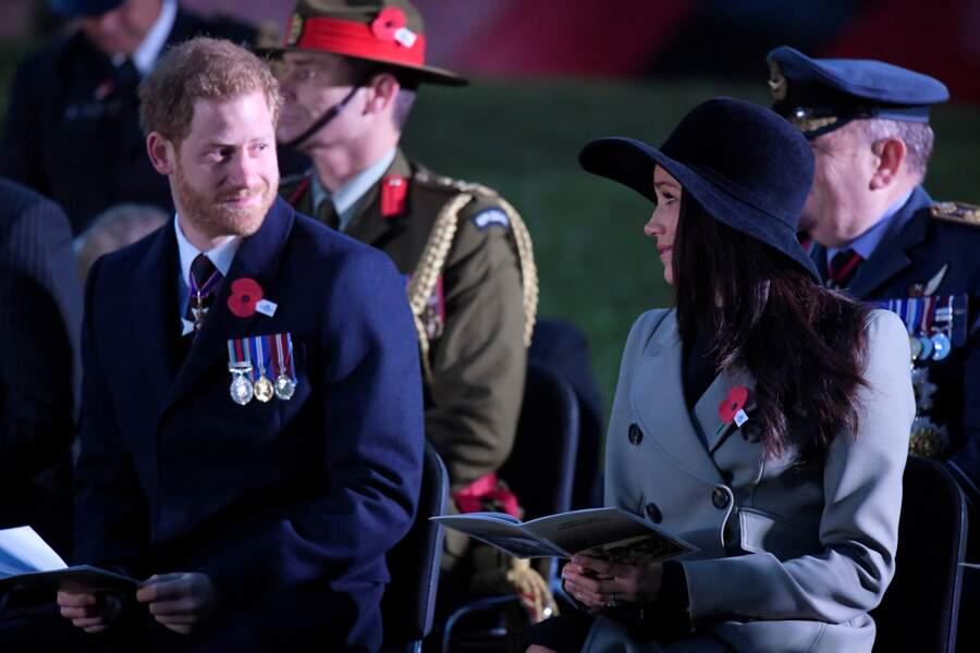 Harry et Meghan lors de la cérémonie de commémoration de l'ANZAC Day à Londres, le 25 avril 2018