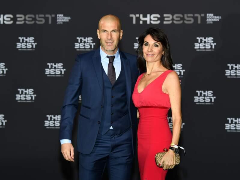 Zinédine Zidane et sa femme Véronique au photocall des FIFA Football Awards à Zurich le 9 janvier 2017