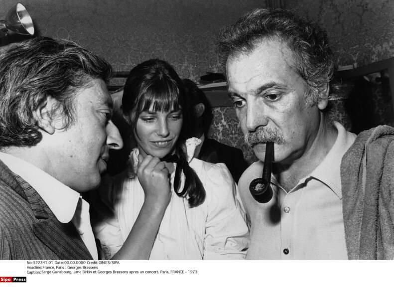 Serge Gainsbourg, Jane Birkin et George Brassens après un concert en 1973