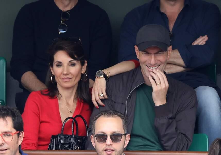 Zinédine et Véronique Zidane à Roland Garros le 10 juin 2018