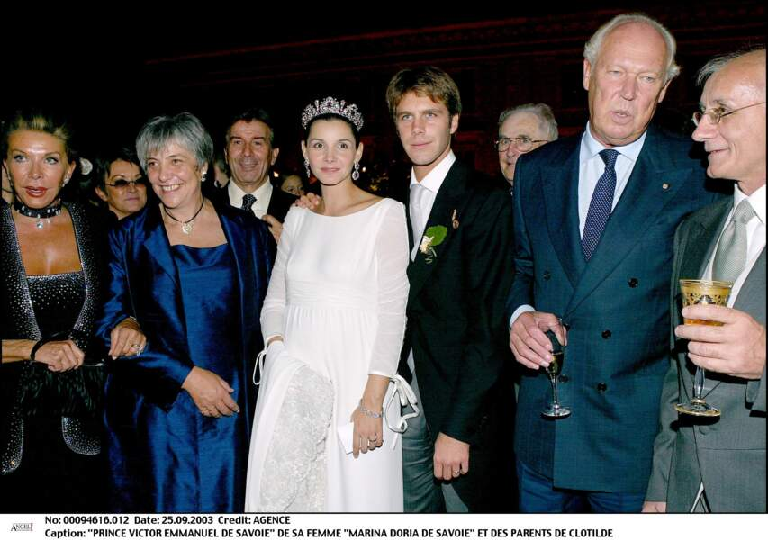 Clotilde Coureau et Emmanuel Philibert de Savoie lors de leur soirée de mariage à Rome le 25 septembre 2003