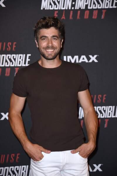 """L'acteur Agustin Galiana lors de l'avant-première mondiale de """"Mission : Impossible Fallout"""" au Palais de Chaillot."""