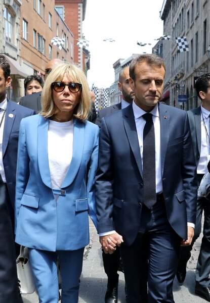 Brigitte Macron en bleu au Québec, totalement raccord avec le drapeau