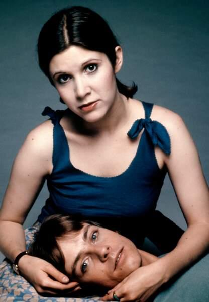 Carrie Fisher et Mark Hamill sur le tournage de Star Wars