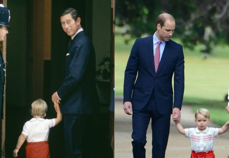 Mimétisme ici, mais aujourd'hui adulte, le prince William ressemble de plus en plus à son père