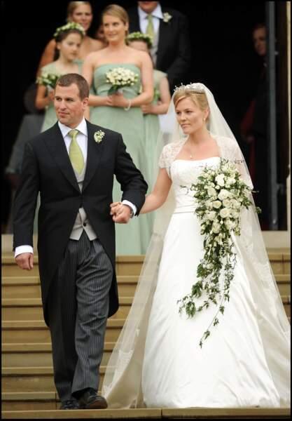 Mariage de Autumn Kelly (en robe Sassi Holford) et de Peter Phillips à Windsor, le 17 mai 2008