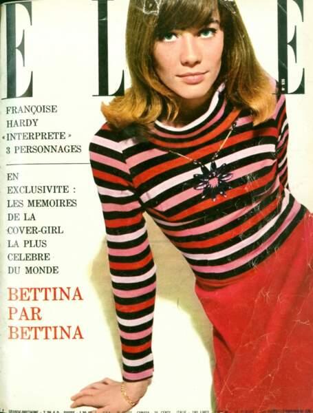 Françoise Hardy pose pour la première fois avec le pull rayé de Sonia Rykiel en couverture de Elle en 1963