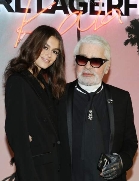 """Kaia Gerber et Karl Lagerfeld our le lancement de la collection capsule  """"Karl Lagerfeld x Kaia"""" à Paris en 2018"""