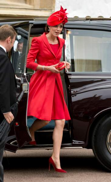 "Kate Middleton en escarpins Gianvito Rossi, à la cérémonie ""Order of the Garter"" à Windsor, le 13 juin 2016"
