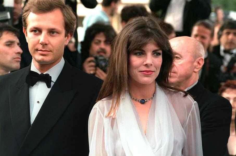 Stefano Casiraghi et Caroline de Monaco lors du festival de Cannes, en 1986