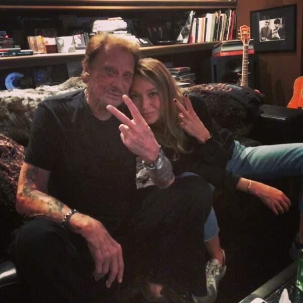 Johnny Hallyday et Laura Smet, complices, sur cette photo partagée sur Instagram en octobre 2017