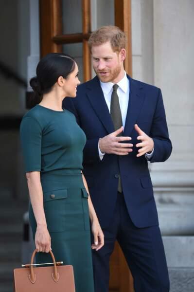 Harry et Meghan lors d'un entretien avec le premier ministre irlandais Leo Varadkar, le 10 juillet 2018 à Dublin