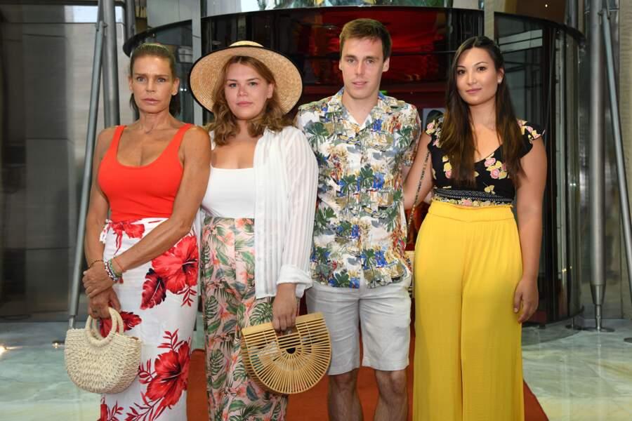 Stéphanie, Camille, Louis et sa future femme Marie, à la soirée Fight Aids à Monaco, le 13 juillet 2019.