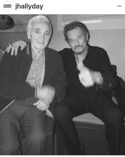 Johnny Hallyday et Charles Aznavour