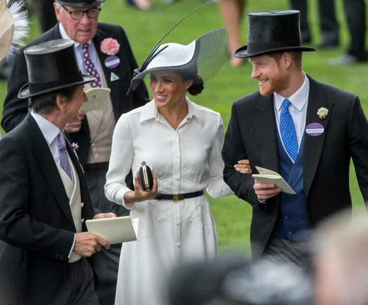 Meghan Markle et le prince Harry lors du Royal Ascot 2018 à l'hippodrome d'Ascot dans le Berkshire, le 19 juin 2018