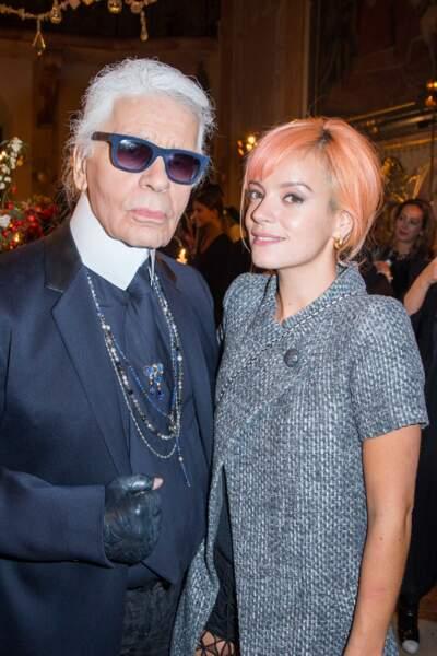 Karl Lagerfeld et Lily Allen au défilé Chanel n l'honneur des Métiers d'arts à Salzbourg le 2 décembre 2014