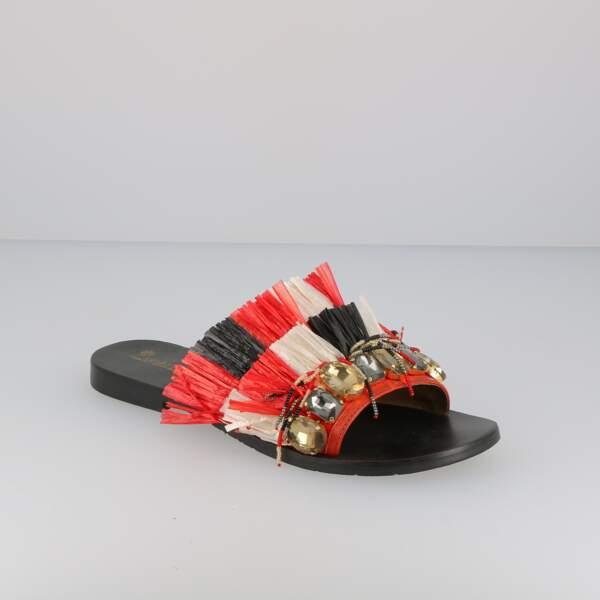 Ethnique, sandales à franges Ilario Ferucci, 85 € (chaussurecassis.com)