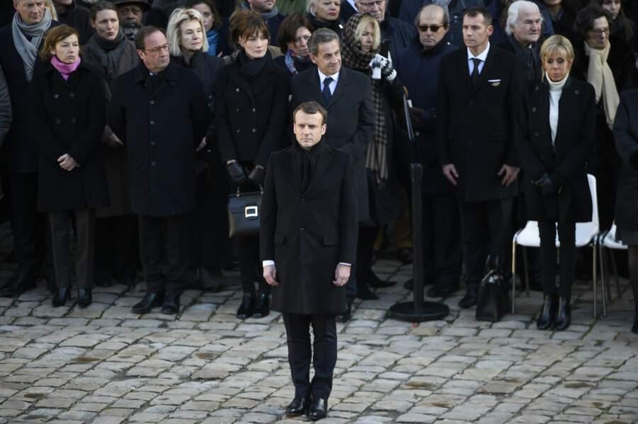 Emmanuel Macron lors de la cérémonie d'hommage national à Jean d'Ormesson aux Invalides