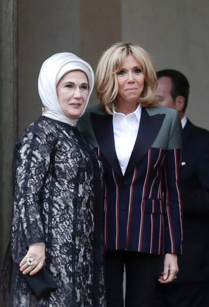 Brigitte Macron accueille Emine Erdogan la femme du président de la Turquie le 5 janvier 2018