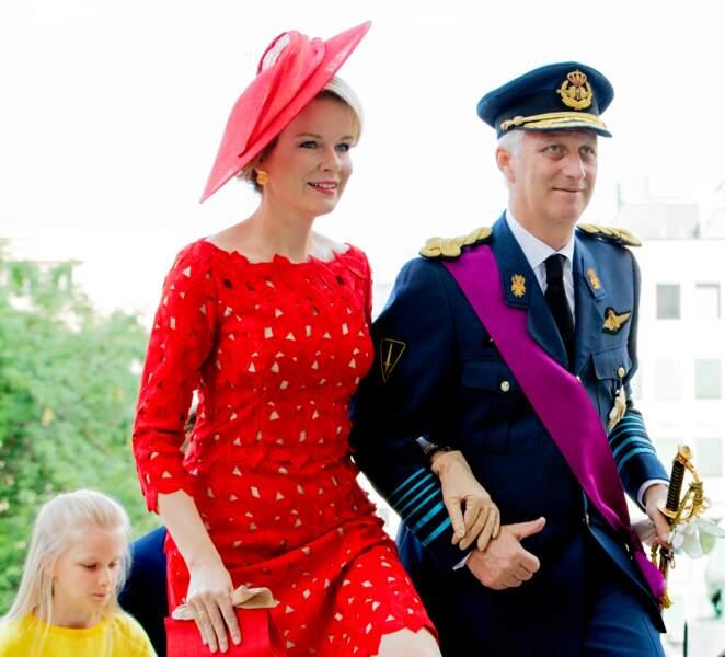 Le roi Philippe et la reine Mathilde de Belgique à l'occasion de la fête nationale Belge à Bruxelles, en 2018