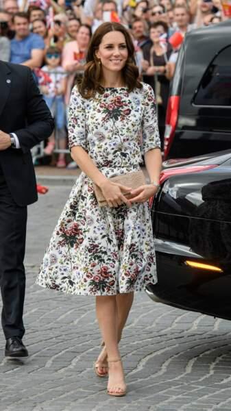 Kate Middleton lors d'une visite du Shakespeare Theatre de Gdansk en Pologne le 18 juillet 2017