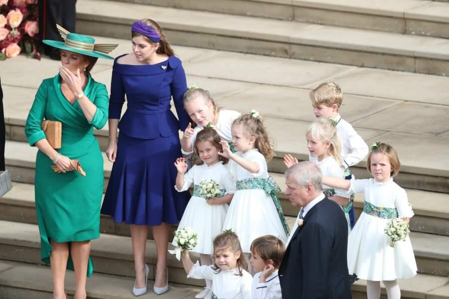 Sarah Ferguson, Beatrice d''York, le prince George et la princesse Charlotte à Windsor, le 12 octobre 2018