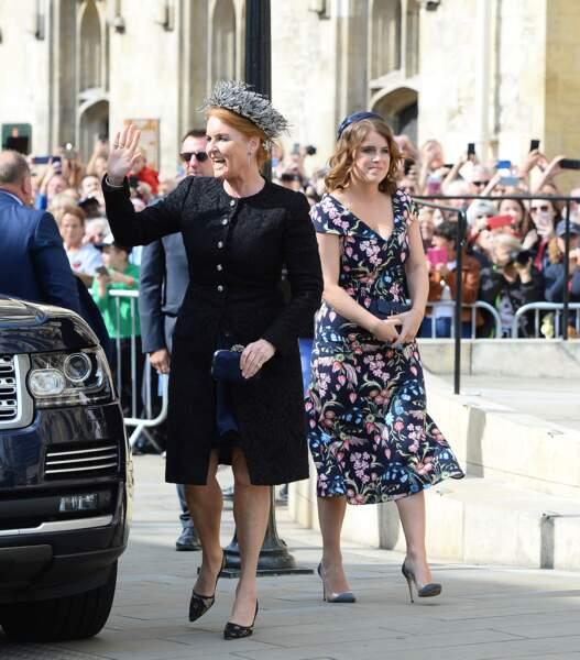 Sarah Ferguson et sa fille Eugenie d'York au mariage d'Ellie Goulding, à Londres, le 31 août 2019.
