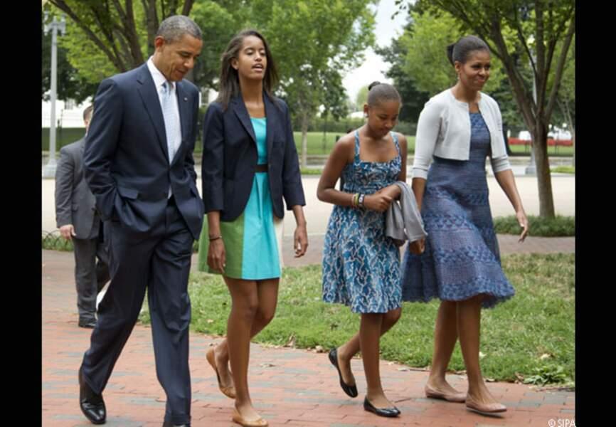 Barack et sa petite famille, en route pour l'Eglise, dimanche 19 août 2012