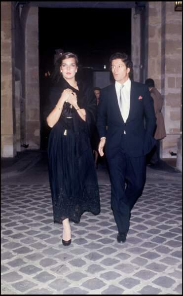 Caroline de Monaco et son mari Philippe Junot, au Palace, à Paris, en octobre 1978, 4 mois après leur mariage