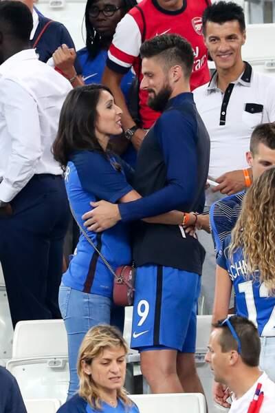 Olivier Giroud et son épouse Jennifer lors du match de l'Euro Allemagne-France, le 7 juillet 2016