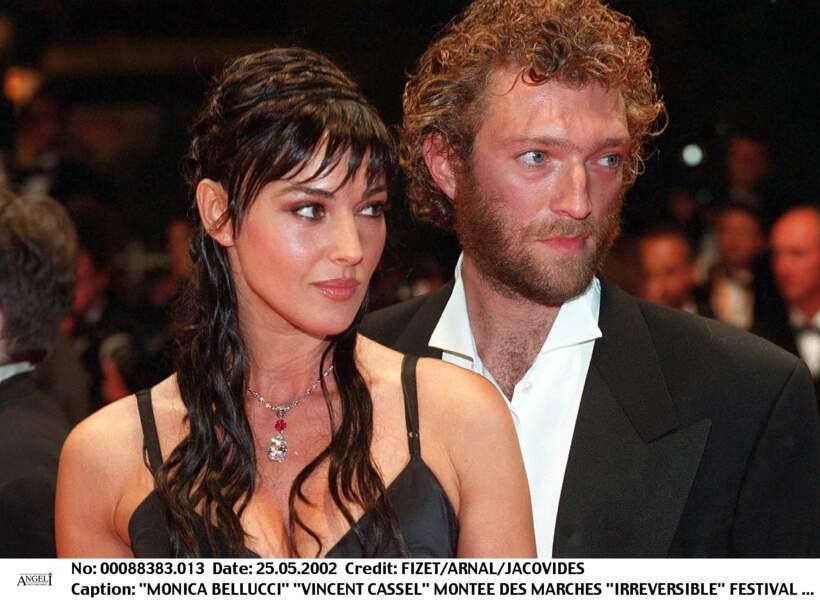 Monica Bellucci et Vincent Cassel à Cannes pour la montée des marches d'Irréversible en 2002