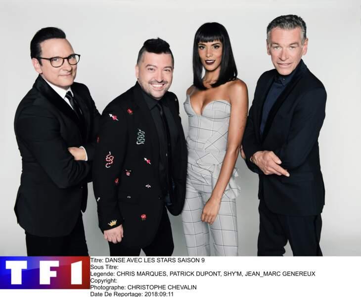 Shy'm entourée de Jean-Marc Généreux, Chris Marques et Patrick Dupond : le jury de la saison 9 de DALS