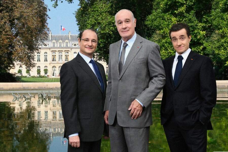 Patrick Braoudé en François Hollande, Bernard Le Coq en Jacques Chirac Thierry Frémont en Nicolas Sarkozy, en 2013