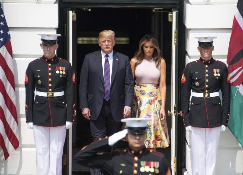 Donald Trump et Melania Trump, accueillent le président de la République du Kenya
