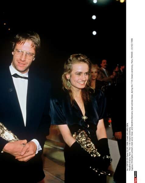 """Sandrine Bonnaire (avec Christophe Lambert), meilleure actrice pour """"Sans toit ni loi"""" en 1986"""