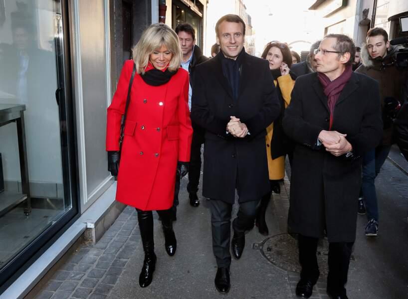 Emmanuel Macron et Brigitte Macron inséparables