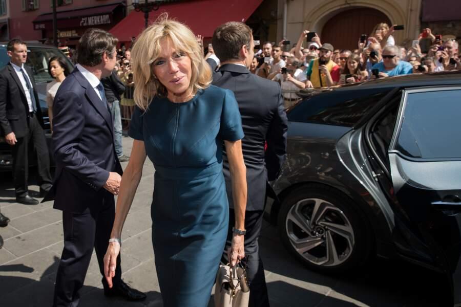 Brigitte Macron, reçue par le Christian Estrosi à l'hôtel de ville de Nice le 14 juillet 2017